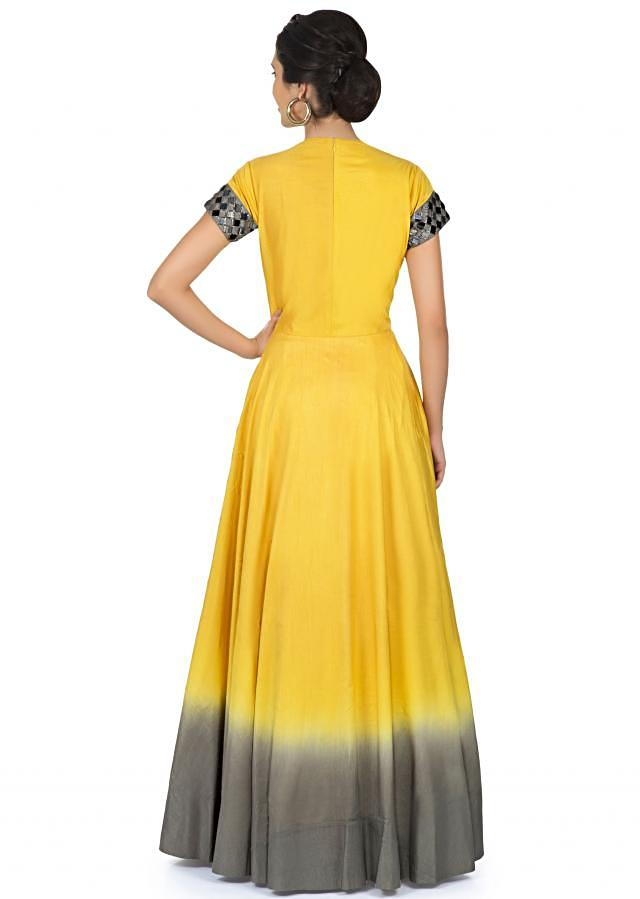 Yellow and grey shaded anarkali suit in silk with embroidered placket only on Kalki