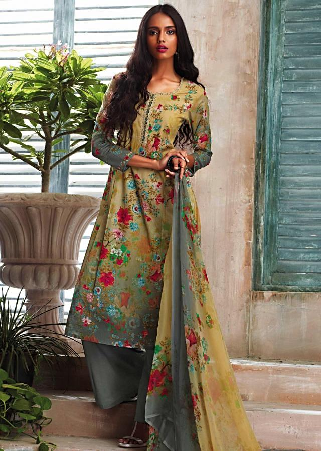 Yellow and grey shaded unstitched printed suit with ready neckline