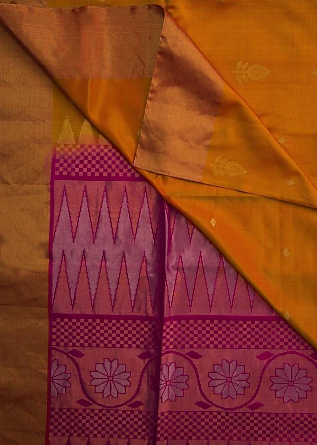 Yellow and pink saree in silk beautified in weaved embroidery only on Kalki