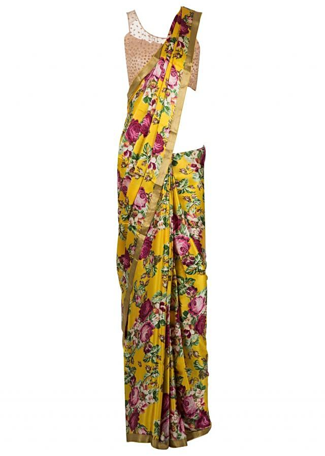 Yellow and pink saree  with floral print and gold border only on Kalki