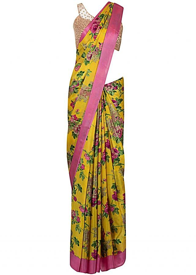Yellow and pink saree  with floral print only on Kalki
