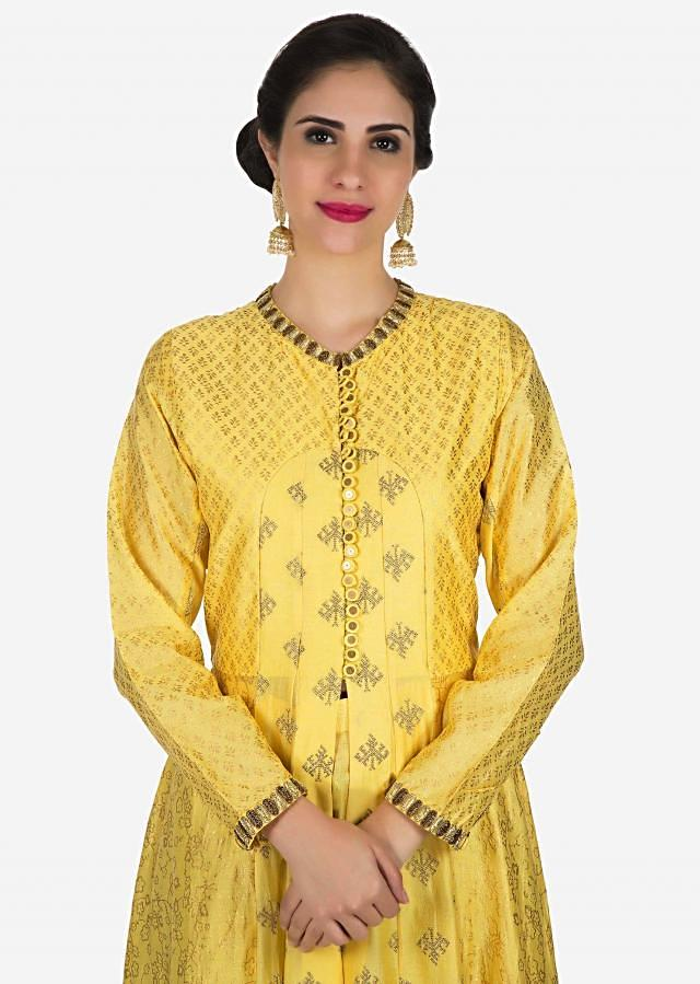 Yellow belly cut anarkali suit beautiful with foil print and zardosi embroidered work only on Kalki