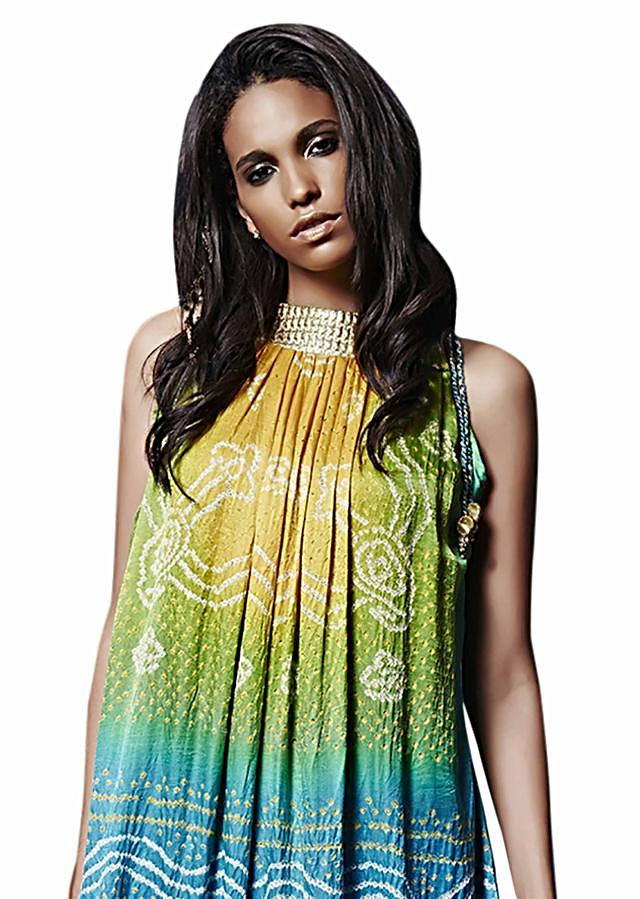 Yellow blue ombre midi dress in bandhani tie up only on Kalki