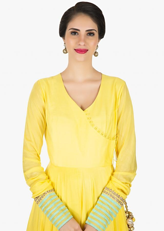 Yellow cotton anarkali suit with matching dupatta only on Kalki