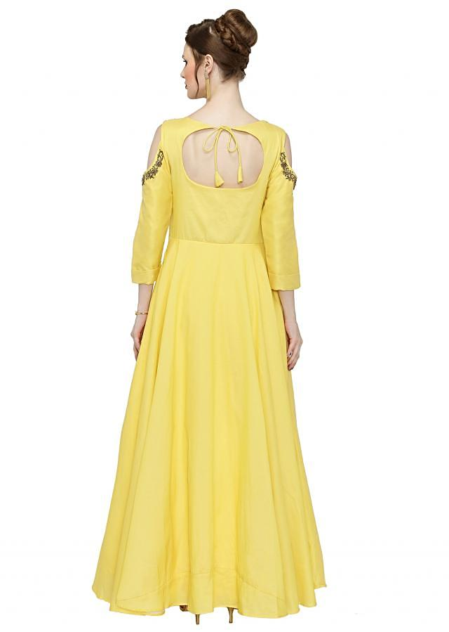 Yellow Cotton Silk Cold Shoulder Gown with Zardosi Work only on Kalki