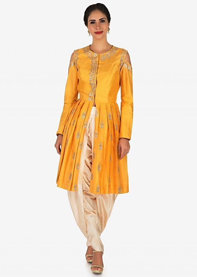 Yellow dhoti suit crafted with gotapatti butti embroidery work only on Kalki