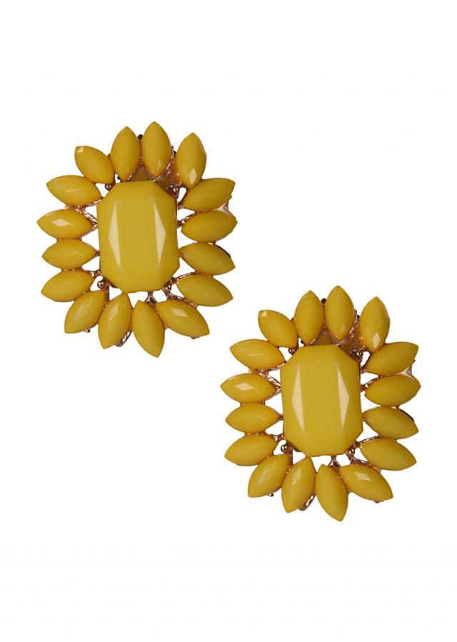Yellow Floral Motif Studs Adorn In Beautiful Gems only on Kalki