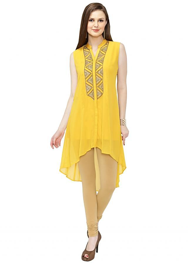 Yellow Georgette Kurta with Kundan and Thread Embellished Placket only on Kalki