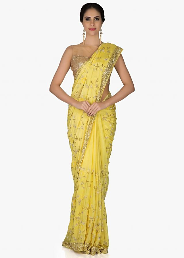 Yellow Georgette Saree and Blouse Styled with Moti, Sequins and Zardosi only on Kalki