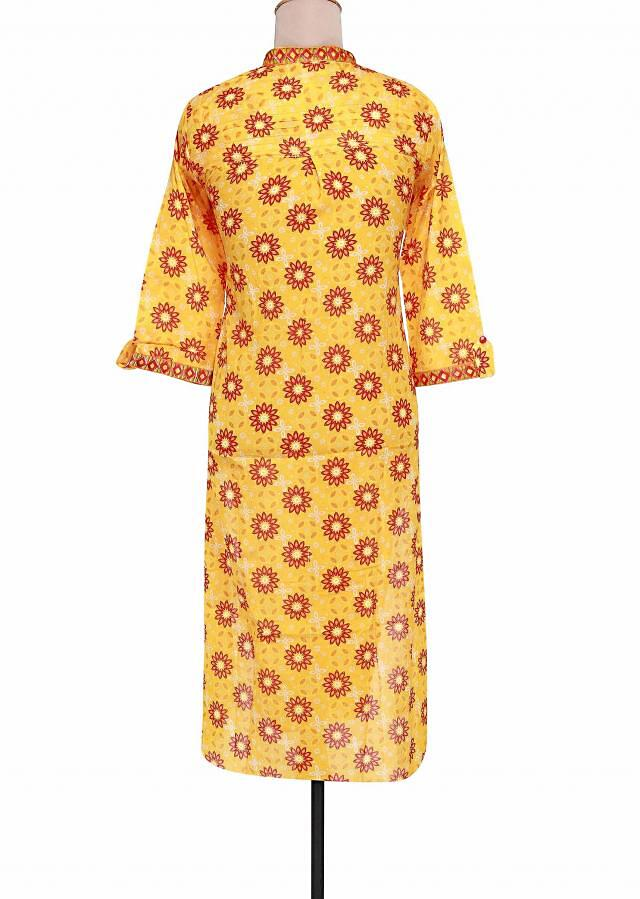 Yellow kurti enhanced with printed collar and placket only on Kalki