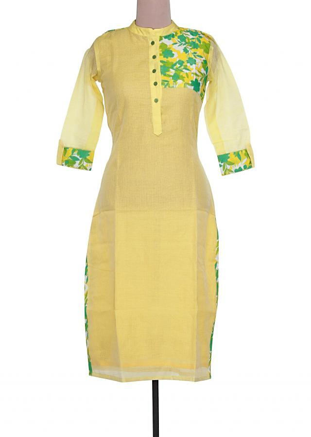 Yellow kurti featuring in printed yoke only on Kalki