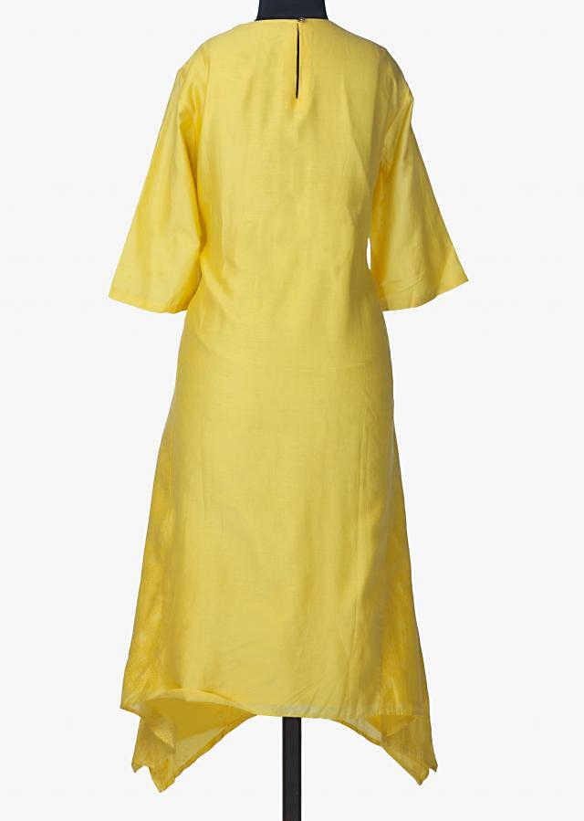 Yellow kurti in cotton silk with self printed side kali only on Kalki