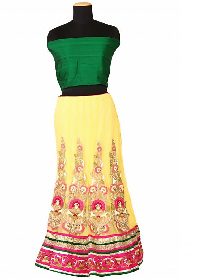 Yellow lehenga with floral embroidery by Kalki