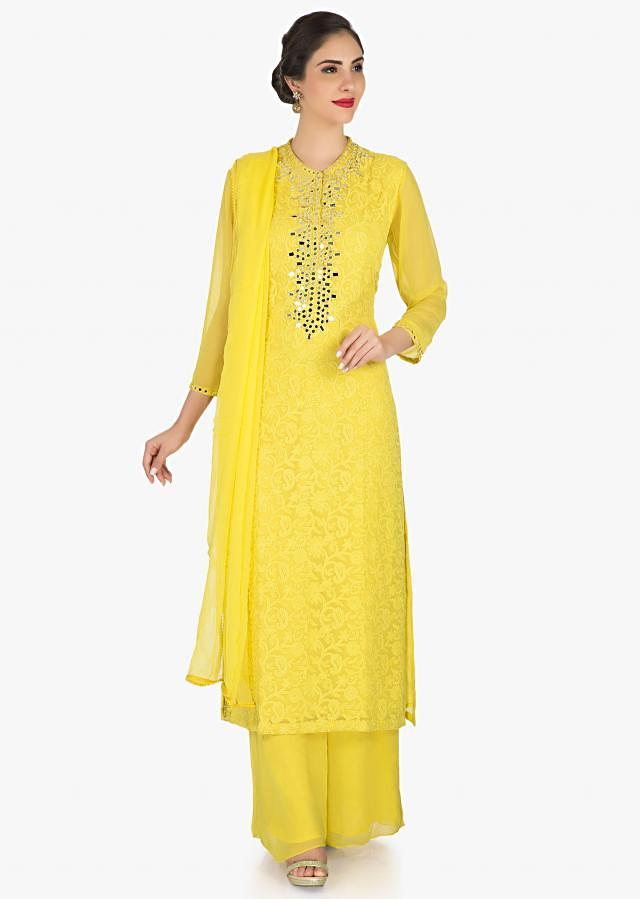 Yellow palazzo suit in georgette elevated in thread and mirror work only on Kalki