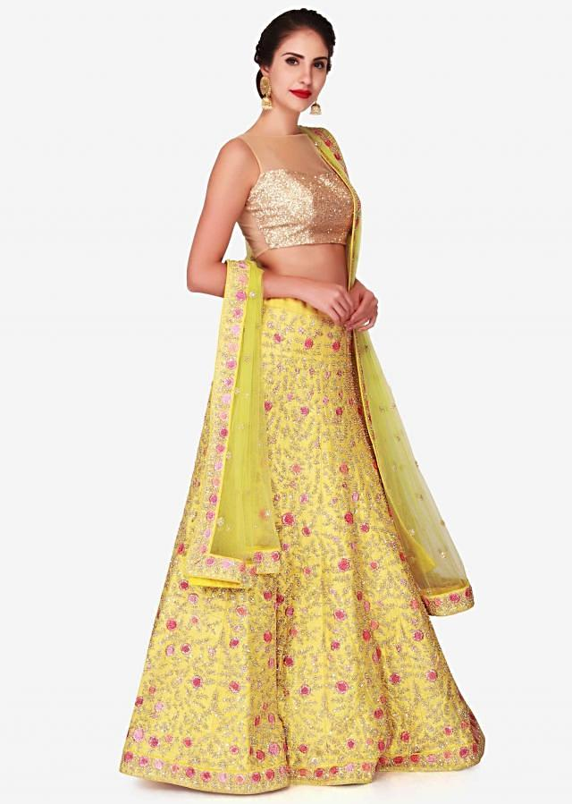 Yellow Lehenga In Raw Silk Embellished With Resham And Moti Embroidery Work Online - Kalki Fashion