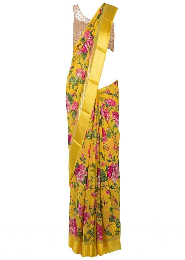 Yellow saree  with pink floral print only on Kalki