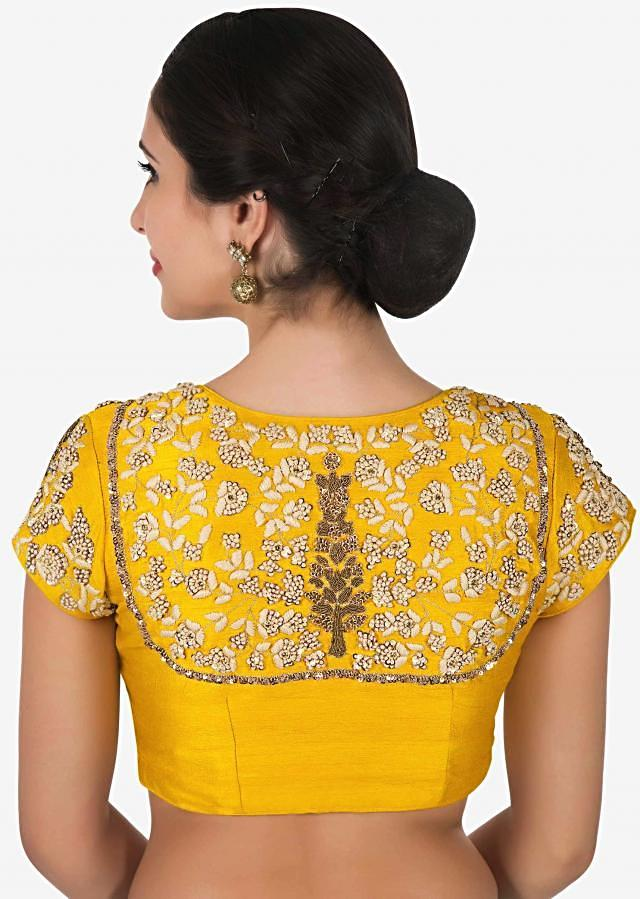 Yellow silk blouse embroidered in frenchknot butti work only on Kalki