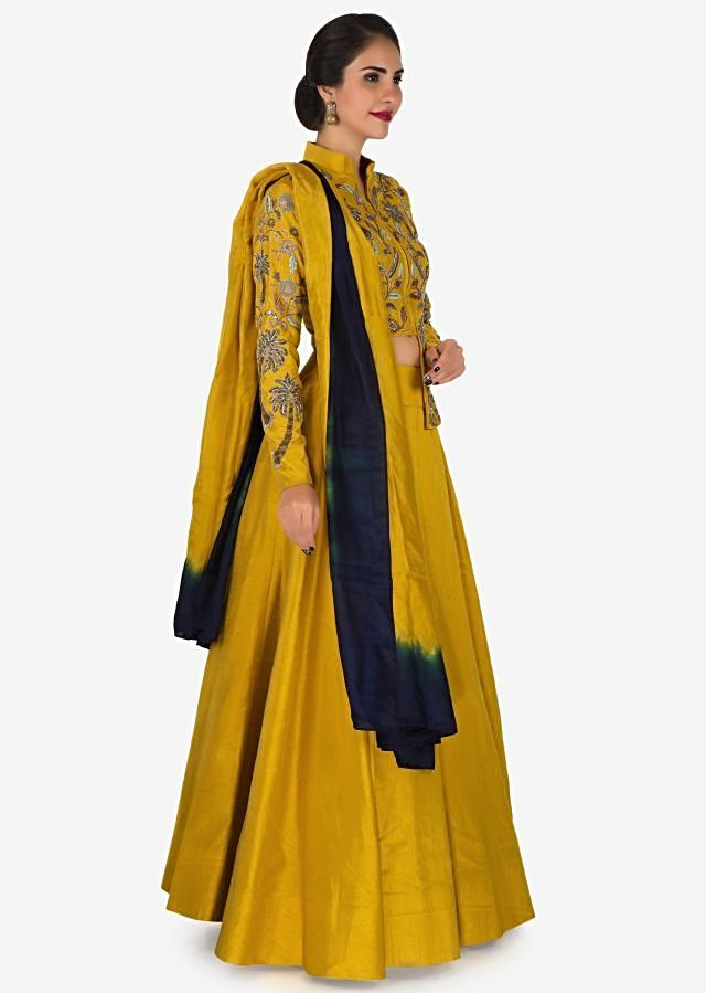 Yellow skirt and top embellished with cut dana and zari embroidery work only on Kalki