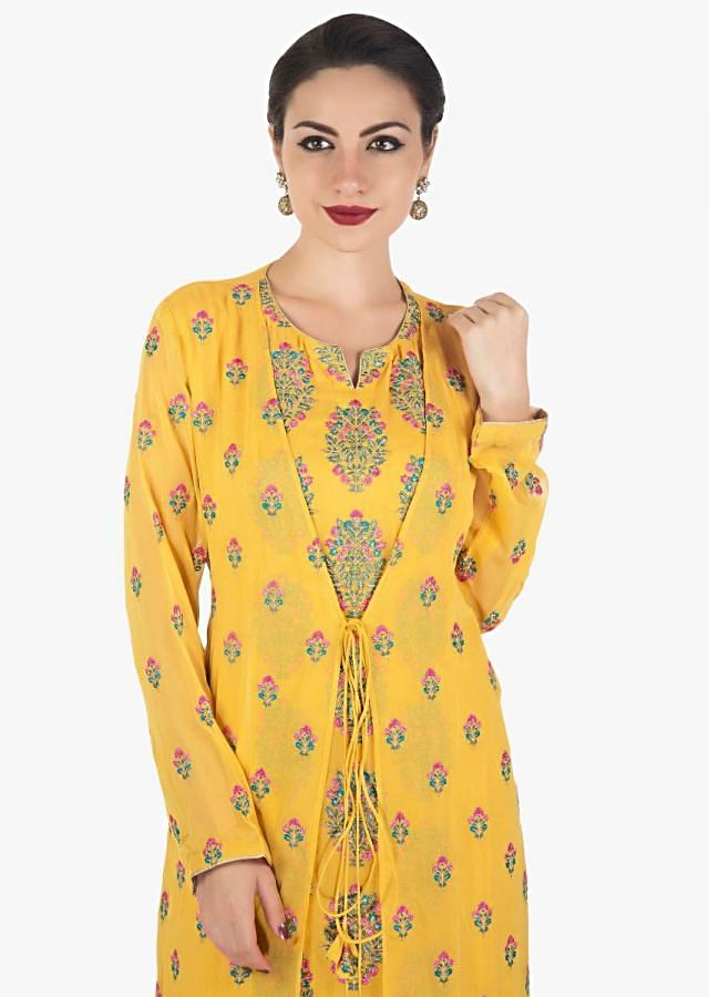 Yellow suit with attached jacket in georgette in resham and zari work only on Kalki