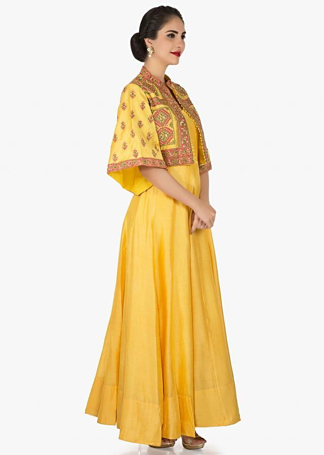 Yellow tunic with a heavily embellished jacket in printed zari work only on Kalki