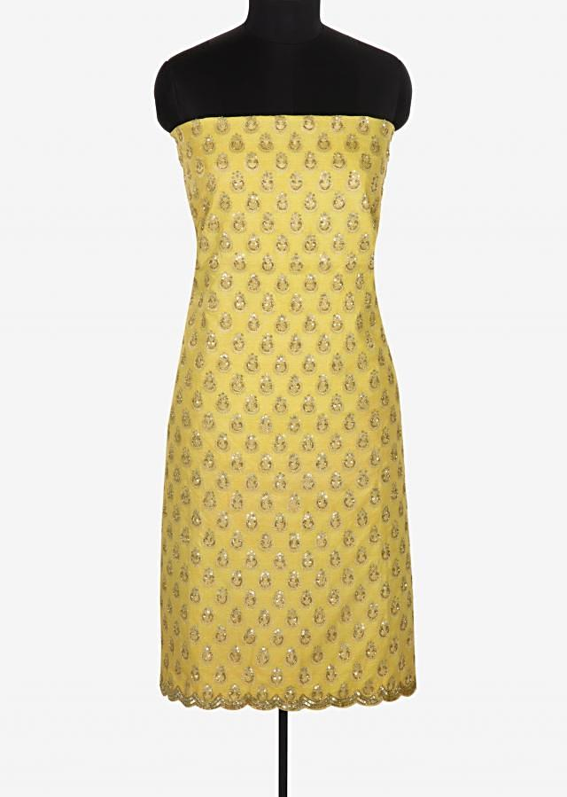 Yellow unstitched printed suit embellished in sequin and cut dana work only on Kalki