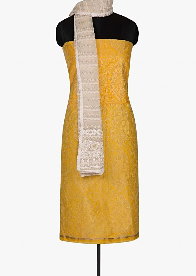 Yellow Unstitched suit with jacquard net printed dupatta only on Kalki