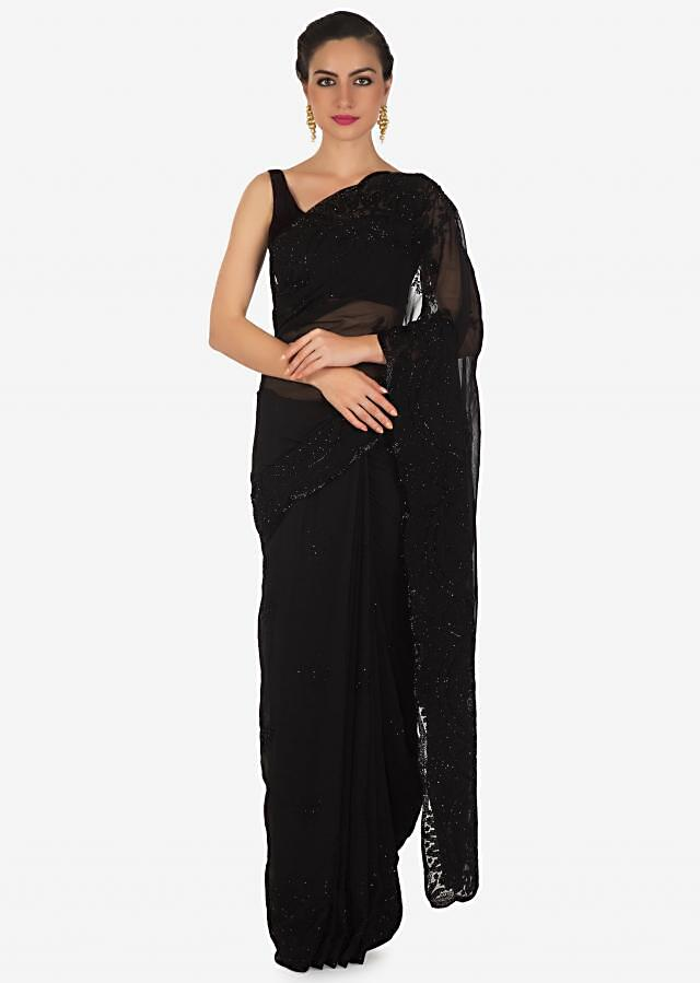 Zed black georgette saree adorn in resham and moti embroidery only on Kalki