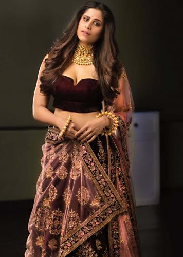 a467a97a4c Wine velvet embroidered lehenga matched with pastel pink dupatta only on  Kalki