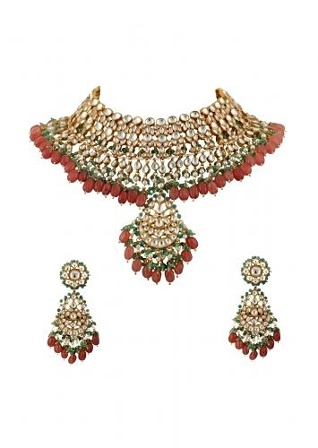 White Jadtar Stone Bridal Necklace And Earrings With Pastel Pink And Green Beads By Riana Jewellery