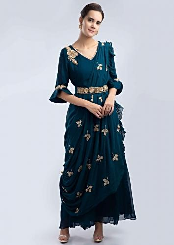 700044847f Admiral blue georgette tunic with a pre stitched draped wrap around only on  Kalki
