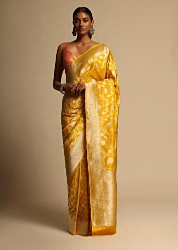 Amber Yellow Banarasi Saree In Pure Handloom Silk With Woven Floral Jaal And Floral Border Along With Unstitched Blouse Piece Online - Kalki Fashion