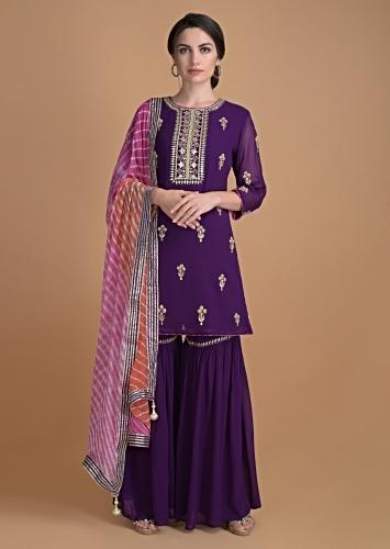 Amethyst Purple Sharara Suit With Gotta Work On The Neckline And In Floral Buttis Online - Kalki Fashion