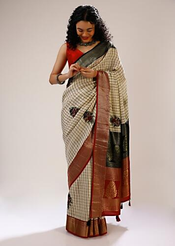Angora White Saree In Silk Blend With Checks Weave, Multi Colored Bud Embroidered Floral Motifs And Contrasting Brocade Border Online - Kalki Fashion