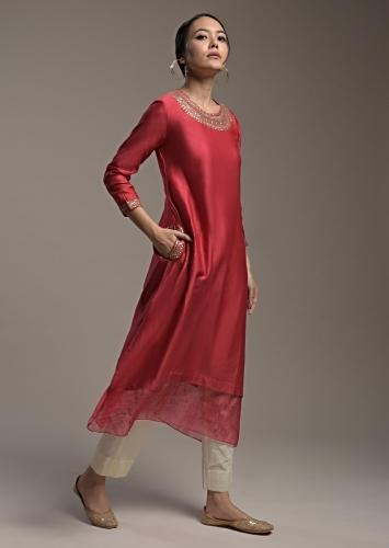 Apple Red A Line Kurti In Cotton With Thread Embroidered Organza Tier And Sequins Work On The Neckline Online - Kalki Fashion