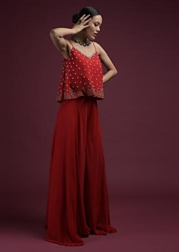 Apple Red Plain Palazzo Suit In Georgette With A Line Crop Top Adorned In Hand Embroidery Work Online - Kalki Fashion