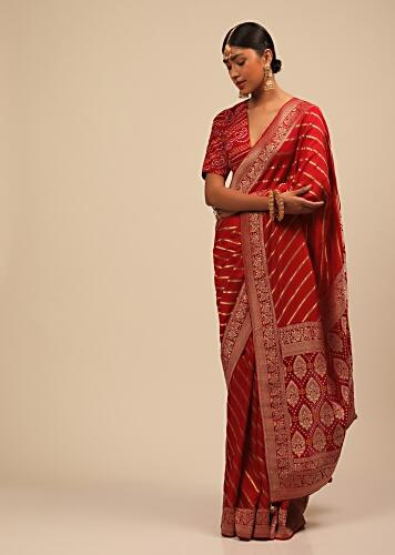 Apple Red Saree In Silk With Diagonal Stripes And Red Brocade Bandhani Pallu And Border Along With Unstitched Blouse Online - Kalki Fashion