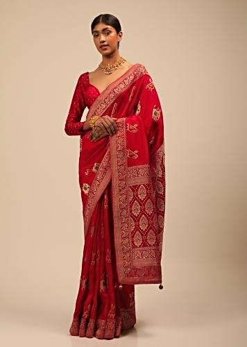Apple Red Saree In Silk With Elephant And Bird Motifs And Brocade Bandhani Pallu And Border Along With Unstitched Blouse Online - Kalki Fashion
