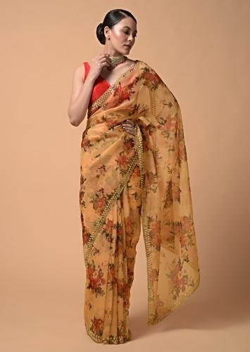 Apricot Yellow Saree In Organza With Floral Print And Moti Accents Online - Kalki Fashion