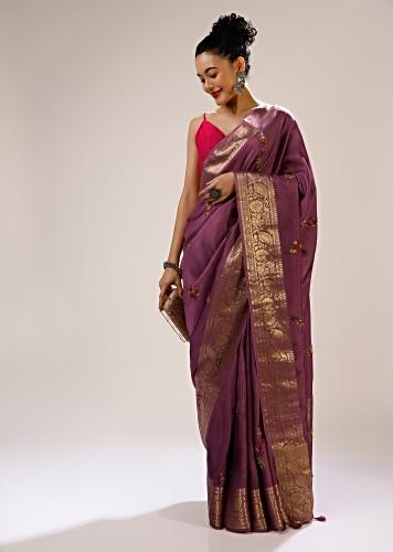 Argyle Purple Saree In Silk With Multi Colored Bud Hand Embroidered Flowers In Striped Design And Brocade Border Online - Kalki Fashion