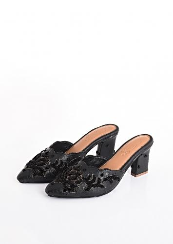 Ava in Black Heeled Mules With 3D Bead Embroidery And Gold Zari Work By Sole House