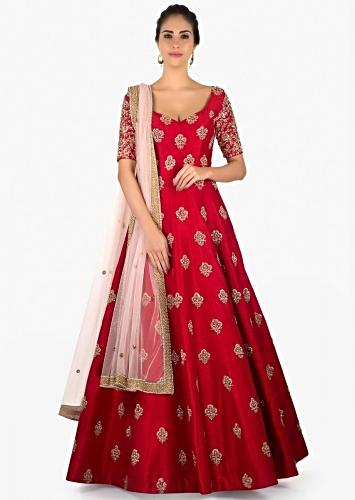 16ce5b4b40 Rani pink raw silk anarkali suit with sequins butti only on Kalki