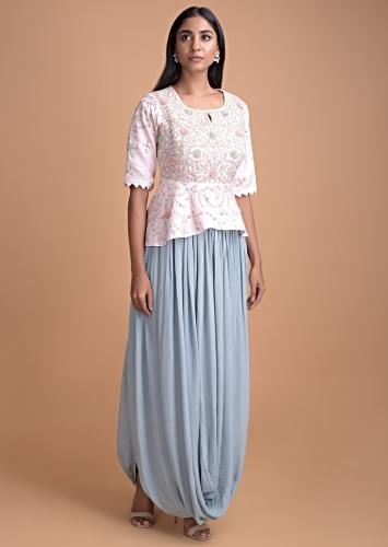 Baby Pink Peplum Top And Maya Blue Skirt With A Fancy Cowl Drape Online - Kalki Fashion