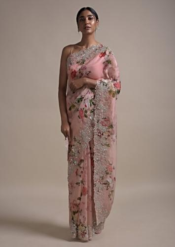 Baby Pink Saree In Organza With Floral Print Along With Sequins And Cut Dana Embellished Border Online - Kalki Fashion