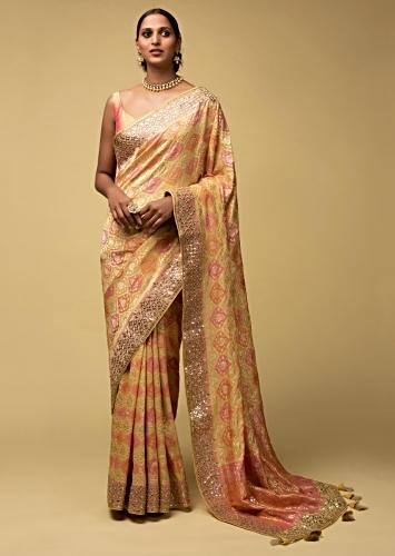 Banana Yellow Banarasi Saree In Georgette With Pink And Peach Design And Weaved Moroccan Jaal Online - Kalki Fashion