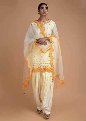 Banana Yellow Salwar Suit With Gotta Patches Embroidery In Floral Buttis Online - Kalki Fashion