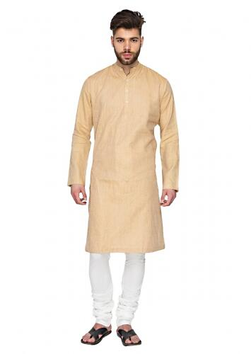 Beige Kurta And Pyjama Set In Linen With Red Pin Tucks In Vertical And Diagonal Stripes By Mayank Modi