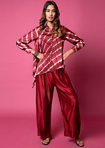 Berry Red Asymmetric Shirt And Pants With Resist Hand Dyed Lehariya And Shell Buttons Online - Kalki Fashion