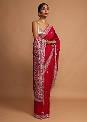 Berry Red Saree In Crepe Silk With French Knots And Zardozi Embroidered Floral Buttis And Border Online - Kalki Fashion