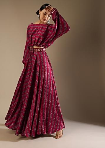 Berry Red Skirt And Crop Top With Floral Print And Fancy Puffed Dolman Sleeves Online - Kalki Fashion