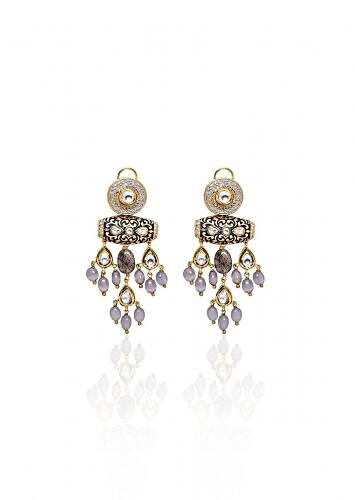 Black and Grey Kundan Earrings Etched WIth Meenakari And Encrusted With Jades And Shell Pearls Joules By Radhika